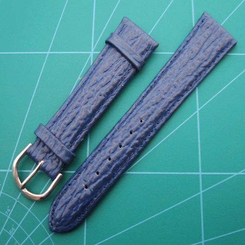 Blue Shark Grain Padded Watch Straps Gold and Steel Colour Buckles Sizes 20-18mm