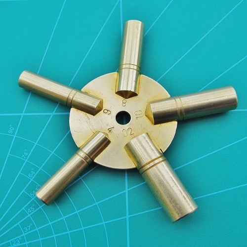 Clock Keys 5 in1 Even Numbers 4-6-8-10-12 Brass Spider Clock Winding Key