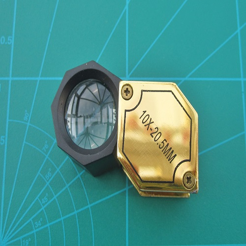 Eye Loupe 10x Hexagonal 20.5mm Lens Gold and Black Finish Cased