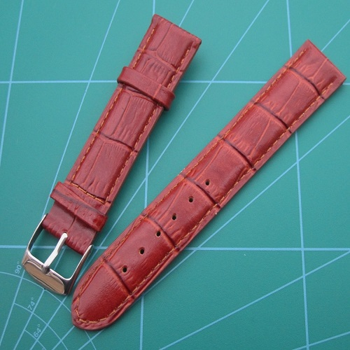 Genuine Leather Burgundy Bamboo Grain Padded Wristwatch Strap Gold and Steel Colour Buckle Sizes 20 - 18mm